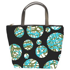 Decorative blue abstract design Bucket Bags