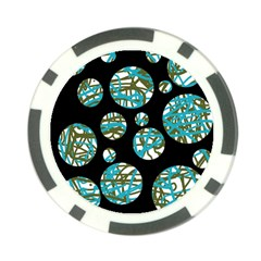 Decorative blue abstract design Poker Chip Card Guards (10 pack)