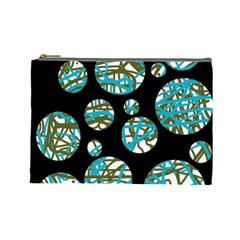 Decorative blue abstract design Cosmetic Bag (Large)