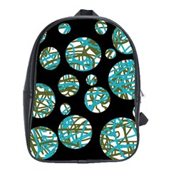 Decorative blue abstract design School Bags(Large)
