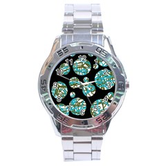Decorative blue abstract design Stainless Steel Analogue Watch