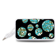 Decorative blue abstract design Portable Speaker (White)