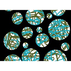 Decorative blue abstract design Birthday Cake 3D Greeting Card (7x5)