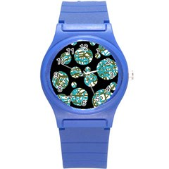 Decorative blue abstract design Round Plastic Sport Watch (S)