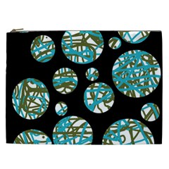 Decorative blue abstract design Cosmetic Bag (XXL)