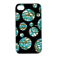 Decorative blue abstract design Apple iPhone 4/4S Hardshell Case with Stand