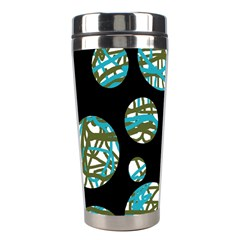 Decorative blue abstract design Stainless Steel Travel Tumblers