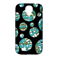 Decorative blue abstract design Samsung Galaxy S4 Classic Hardshell Case (PC+Silicone)