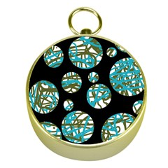 Decorative blue abstract design Gold Compasses