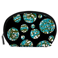 Decorative blue abstract design Accessory Pouches (Large)