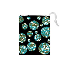 Decorative blue abstract design Drawstring Pouches (Small)
