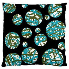Decorative blue abstract design Large Flano Cushion Case (Two Sides)