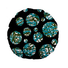 Decorative blue abstract design Standard 15  Premium Flano Round Cushions