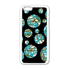 Decorative blue abstract design Apple iPhone 6/6S White Enamel Case