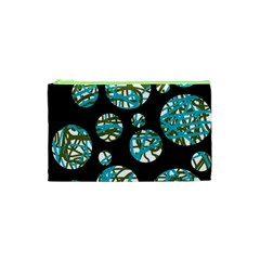 Decorative blue abstract design Cosmetic Bag (XS)