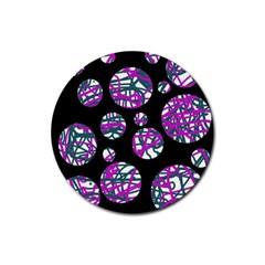 Purple decorative design Rubber Coaster (Round)