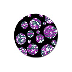 Purple decorative design Magnet 3  (Round)