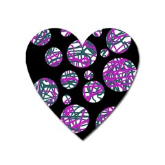 Purple decorative design Heart Magnet