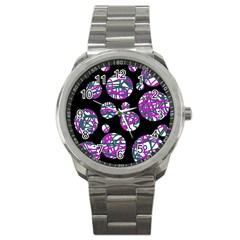 Purple decorative design Sport Metal Watch