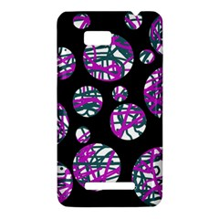 Purple decorative design HTC One SU T528W Hardshell Case