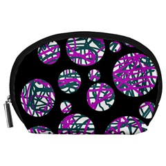 Purple decorative design Accessory Pouches (Large)