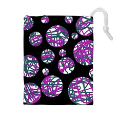 Purple decorative design Drawstring Pouches (Extra Large)