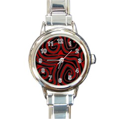 Red and black abstraction Round Italian Charm Watch