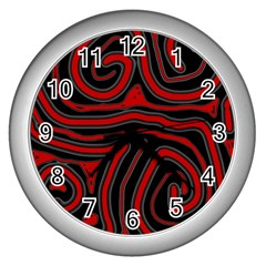 Red and black abstraction Wall Clocks (Silver)