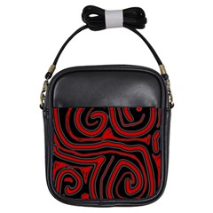 Red and black abstraction Girls Sling Bags