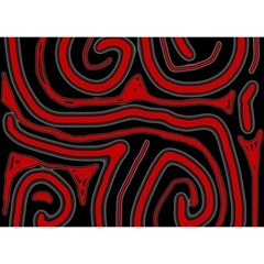 Red and black abstraction Birthday Cake 3D Greeting Card (7x5)
