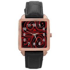 Red and black abstraction Rose Gold Leather Watch