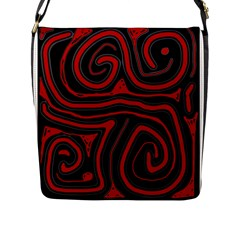 Red and black abstraction Flap Messenger Bag (L)