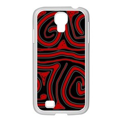 Red and black abstraction Samsung GALAXY S4 I9500/ I9505 Case (White)