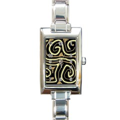 Brown elegant abstraction Rectangle Italian Charm Watch