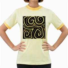 Brown elegant abstraction Women s Fitted Ringer T-Shirts