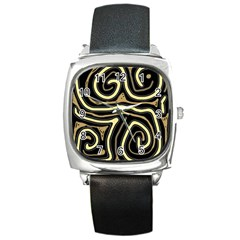 Brown elegant abstraction Square Metal Watch