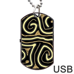 Brown elegant abstraction Dog Tag USB Flash (Two Sides)