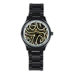 Brown elegant abstraction Stainless Steel Round Watch