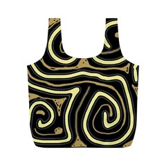 Brown elegant abstraction Full Print Recycle Bags (M)