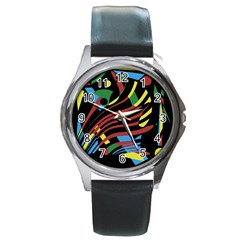 Colorful decorative abstrat design Round Metal Watch