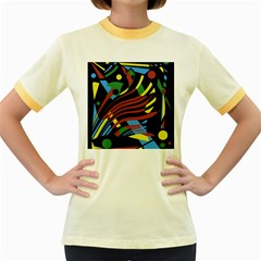 Colorful decorative abstrat design Women s Fitted Ringer T-Shirts