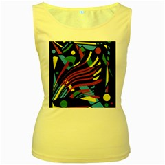 Colorful decorative abstrat design Women s Yellow Tank Top