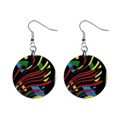 Colorful decorative abstrat design Mini Button Earrings