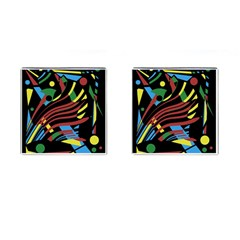 Colorful decorative abstrat design Cufflinks (Square)