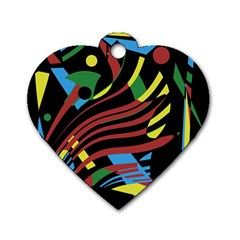Colorful decorative abstrat design Dog Tag Heart (Two Sides)