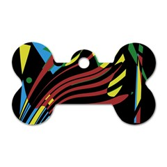 Colorful decorative abstrat design Dog Tag Bone (Two Sides)