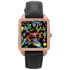Colorful decorative abstrat design Rose Gold Leather Watch