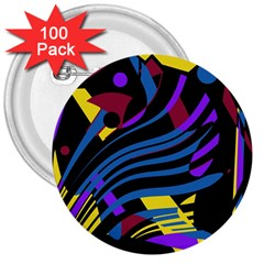 Decorative abstract design 3  Buttons (100 pack)