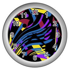 Decorative abstract design Wall Clocks (Silver)