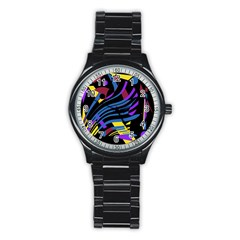 Decorative abstract design Stainless Steel Round Watch